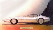 Future Drawings - 1968 BARRACUDA vintage styling design concept sketch by John Samsen
