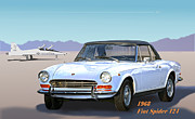 Robert Bissett Prints - 1968 Fiat Spider 124 Print by Robert Bissett