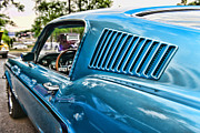 Car Detail Prints - 1968 Ford Mustang Fastback in Blue Print by Paul Ward