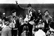 Political Statement Prints - 1968 Olympics, 400 Meter Run Winners Print by Everett