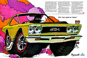 Poster From Digital Art Metal Prints - 1968 Plymouth GTX - Adios Metal Print by Digital Repro Depot