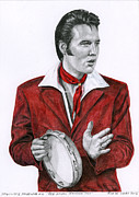 Elvis Presley Drawings - 1968 Red Gospel Sequence Suit by Rob De Vries
