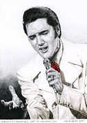 Elvis Drawings - 1968 White If I Can Dream Suit by Rob De Vries