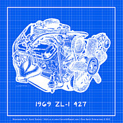 Corvette Engine Blueprints - 1969 427 ZL-1 Corvette Racing Engine Reverse Blueprint by K Scott Teeters