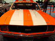American Car Art - 1969 Chevrolet Camaro 350 RS . Orange With Racing Stripes . 7D9428 by Wingsdomain Art and Photography