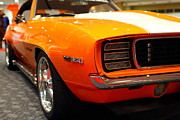 American Car Art - 1969 Chevrolet Camaro 350 RS . Orange With Racing Stripes . 7D9432 by Wingsdomain Art and Photography