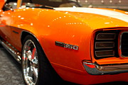 American Car Art - 1969 Chevrolet Camaro 350 RS . Orange With Racing Stripes . 7D9434 by Wingsdomain Art and Photography