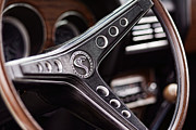 Chrome Jet Framed Prints - 1969 Ford Mustang Shelby Cobra GT500 Steering Wheel Framed Print by Gordon Dean II