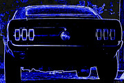 Carol Shelby Posters - 1969 Mustang in Neon 2 Poster by Susan Bordelon