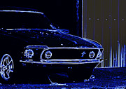 Barret Jackson Posters - 1969 Mustang in Neon Poster by Susan Bordelon