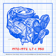 Corvette Engine Blueprints - 1970 - 1972 LT-1 Corvette Engine Blueprint by K Scott Teeters