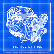 Corvette Engine Blueprints - 1970 - 1972 LT-1 Corvette Engine Reverse Blueprint by K Scott Teeters