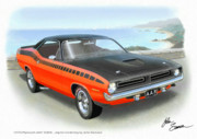 Challenger Digital Art - 1970 BARRACUDA AAR  Cuda classic muscle car by John Samsen