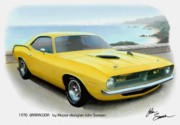 T-bird Posters - 1970 BARRACUDA classic Cuda Plymouth muscle car sketch rendering Poster by John Samsen