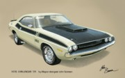 Plymouth Barracuda Framed Prints - 1970 CHALLENGER T-A Dodge muscle car classic Framed Print by John Samsen