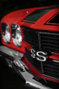 Grill Digital Art Metal Prints - 1970 Chevelle SS396 SS 396 Red Metal Print by Gordon Dean II