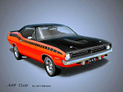Classic Car Digital Art Posters - 1970 CUDA AAR  classic Barracuda vintage Plymouth muscle car art sketch rendering         Poster by John Samsen