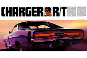 Restoration Digital Art Prints - 1970 Dodge Charger RT Print by Digital Repro Depot