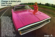 Tickled Pink Framed Prints - 1970 Dodge Charger Tickled Pink Framed Print by Digital Repro Depot
