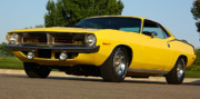 Banana Art Digital Art Posters - 1970 Hemi Cuda - Lemon Twist Yellow Poster by Gordon Dean II