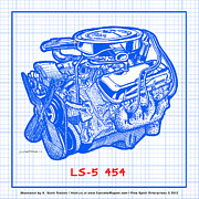 Big Block Chevy Framed Prints - 1970 LS5 454 Big-Block Corvette Engine Blueprint Framed Print by K Scott Teeters