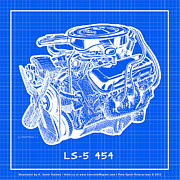 Big Block Chevy Framed Prints - 1970 LS5 454 Big-Block Corvette Engine Reverse Blueprint Framed Print by K Scott Teeters