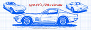American Muscle Digital Art Prints - 1970 LT-1 and ZR-1 Corvette Blueprint Print by K Scott Teeters