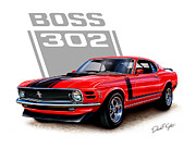 Automotive Art - 1970 Mustang Boss 302 Red by David Kyte