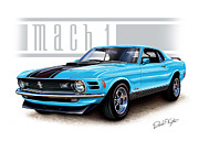 Muscle Car Digital Art Framed Prints - 1970 Mustang Mach 1 Blue Framed Print by David Kyte