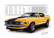 Automotive Digital Art Metal Prints - 1970 Mustang Mach 1 in Yellow Metal Print by David Kyte