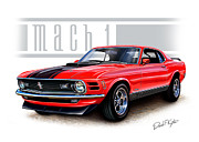 Mach 1 Posters - 1970 Mustang Mach 1 Red Poster by David Kyte