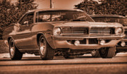 Sepia Digital Art Originals - 1970 Plymouth Hemi Cuda by Gordon Dean II