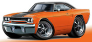 Hemi Digital Art Posters - 1970 Roadrunner Orange Car Poster by Maddmax