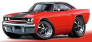 Pic Digital Art Posters - 1970 Roadrunner Red Car Poster by Maddmax