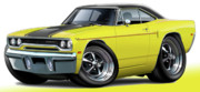 Hemi Digital Art Posters - 1970 Roadrunner Yellow Car Poster by Maddmax
