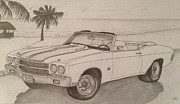 Ford Truck Drawings - 1970 Ss Chevelle Ls6 by Pete Giffen