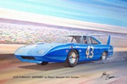 Blue Thunderbird Posters - 1970 SUPERBIRD Petty NASCAR racecar muscle car sketch rendering Poster by John Samsen