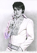 Elvis Drawings - 1970 White Brocade Suit Silver Trim by Rob De Vries