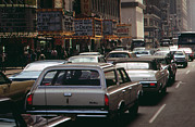 1970s Candids Framed Prints - 1970s America. 42nd Street Between 7th Framed Print by Everett