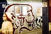 Candids Framed Prints - 1970s America. Graffiti On A Subway Car Framed Print by Everett