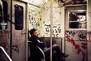 1970s Candids Framed Prints - 1970s America. Graffiti On A Subway Framed Print by Everett