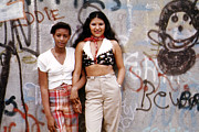 Puerto Rican Prints - 1970s America. Two Young Girls Pose Print by Everett