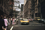 1970s Candids Framed Prints - 1970s America. Yellow Taxi Cabs Framed Print by Everett