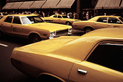 1970s Photos - 1970s America. Yellow Taxi Cabs On 5th by Everett