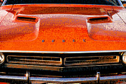 Mopar Metal Prints - 1971 Dodge Challenger - Orange Mopar Typography - MP002 Metal Print by Gordon Dean II