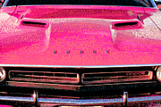 Pink Panther Framed Prints - 1971 Dodge Challenger - Pink Mopar Typography Framed Print by Gordon Dean II