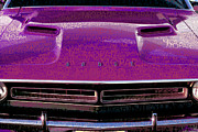 Cruiser Digital Art Prints - 1971 Dodge Challenger - Purple Mopar Typography Print by Gordon Dean II