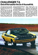 Sports Art Digital Art Posters - 1971 Dodge Challenger T/A Poster by Digital Repro Depot
