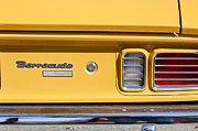 Plymouth Car Prints - 1971 Plymouth Barracuda Convertible 318 CI Taillight Emblem Print by Jill Reger