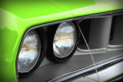 Hemi Digital Art Posters - 1971 Plymouth Barracuda Cuda Sublime Green Poster by Gordon Dean II